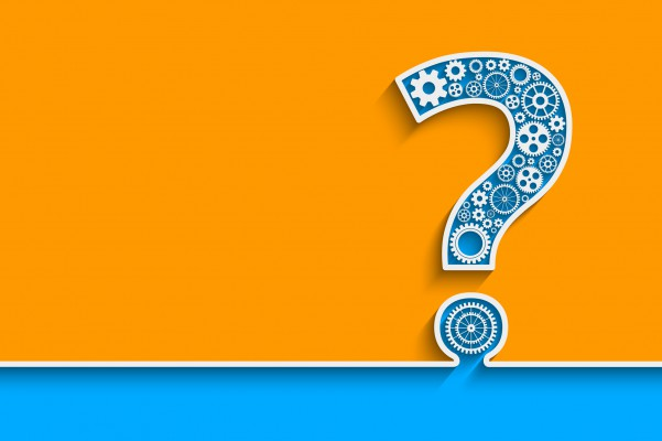 Creative Question mark with gears. Eps10 vector for your design